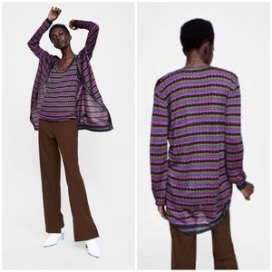 Zara • striped textured duster cardigan sweater